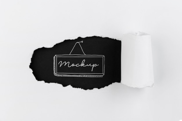 Disposición de la vista superior de la etiqueta de maqueta