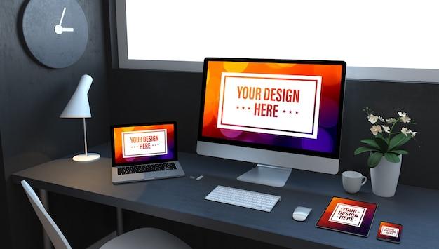 Dispositivi reattivi blu navy sul rendering 3d desktop che mostra il sito web di tecnologia