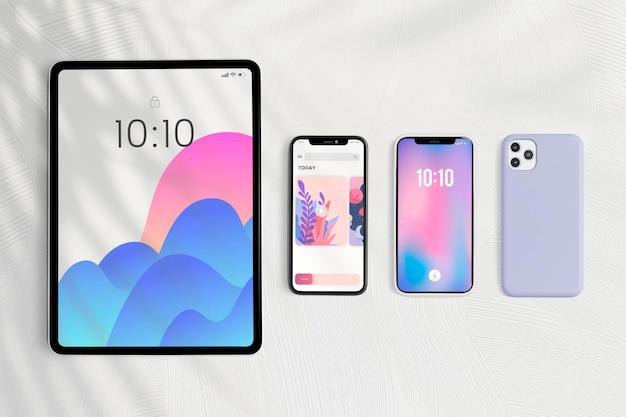 Dispositivo digital de maqueta de pantalla de tableta y teléfono