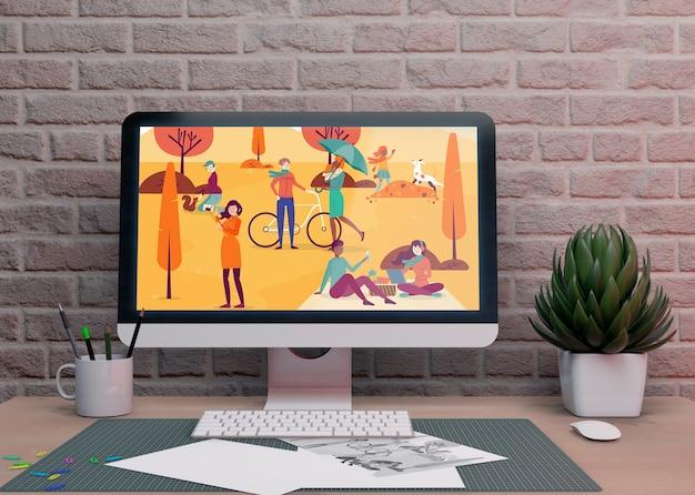 Dispositivo de monitor electrónico en escritorio