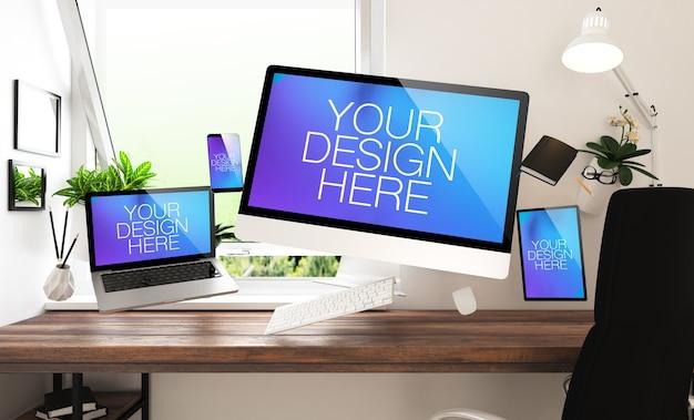 Dispositivos flotantes y maqueta de escritorio