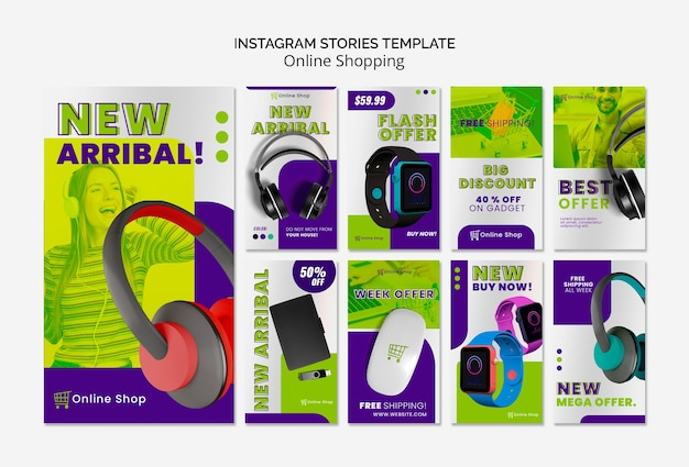 Dispositivos de plantilla de historias de instagram las compras en línea