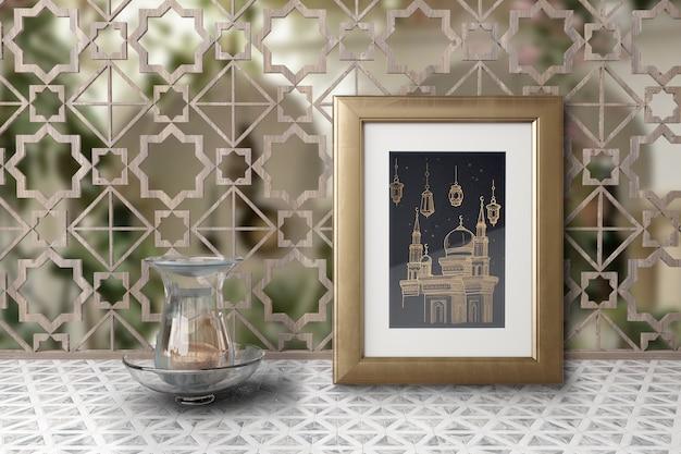 Disposizione con l'immagine della moschea in una cornice