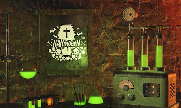 Disposizione di halloween con luce verde