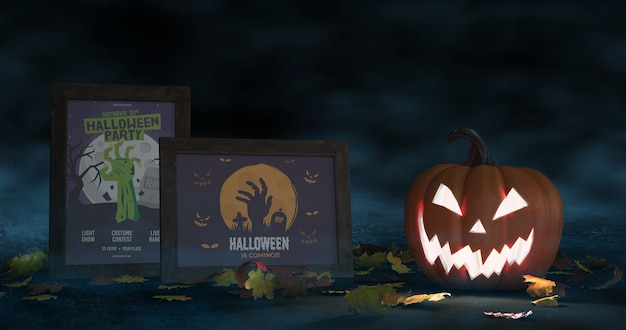 Disposizione di halloween con zucca spaventosa e manifesti di film mock-up