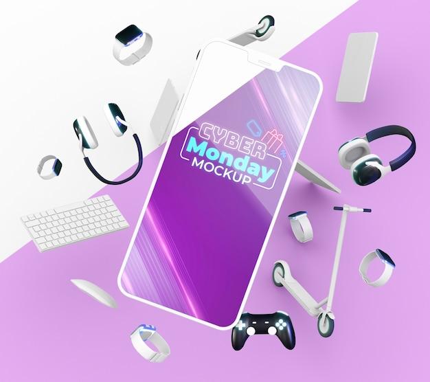 Disposizione di vendita di cyber lunedì con mock-up di smartphone