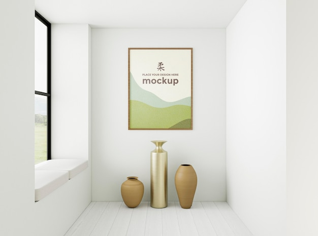 Disposizione interna minimalista vista frontale con cornice mock-up