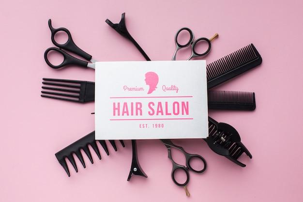 Disposizione piana del concetto di parrucchiere mock-up