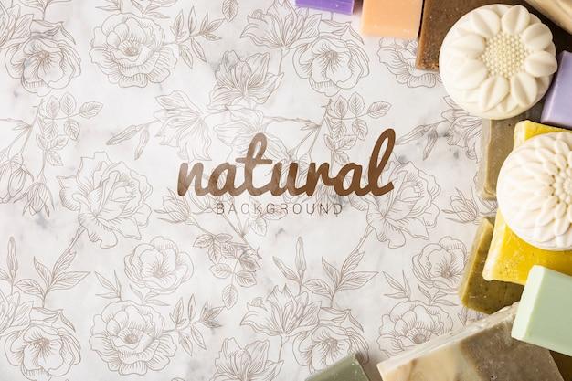 Disposizione piana della priorità bassa del sapone naturale