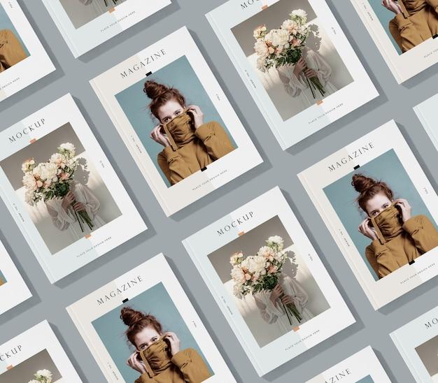 Disposizione piatta della rivista editoriale mock-up
