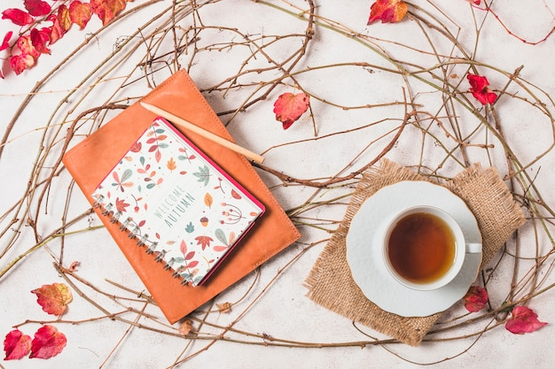 Disposizione piatta per cioccolata calda e quaderno