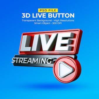 Distintivo 3d in streaming live isolato