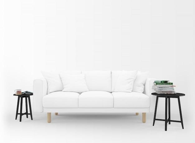 Divano bianco realistico con tavolini isolato su bianco