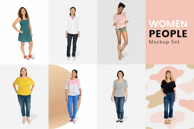Diverse vrouwen mockup collectie