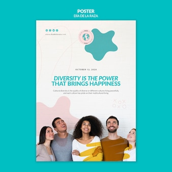 La diversidad es el poder que trae la plantilla de póster de felicidad