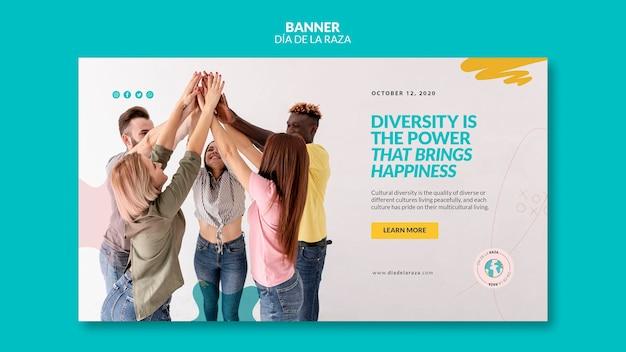Diversiteit brengt geluk sjabloon voor spandoek