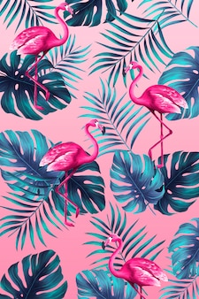 Divertente stampa tropicale in stile dipinto a mano con fenicottero rosa