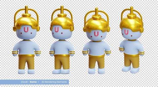 Diwali 3d-renderingelementen van ram die een van de personages is in het diwali-verhaal