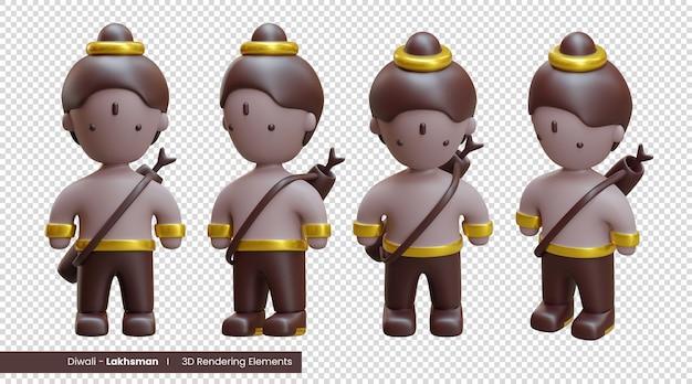 Diwali 3d-weergave-elementen van lakhsman, een van de personages in het diwali-verhaal