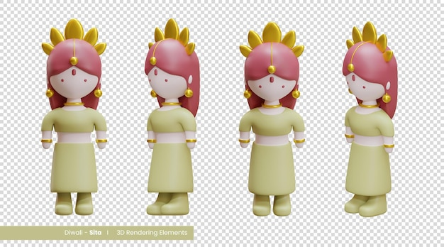 Diwali 3d-weergave-elementen van sita, een van de personages in het diwali-verhaal
