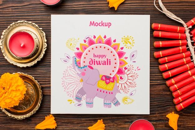 Diwali festival vacaciones elefante dibujado y velas.