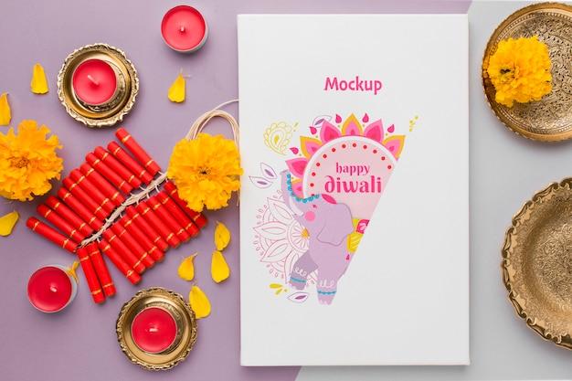 Diwali festival vakantie mock-up olifant en vuurwerk