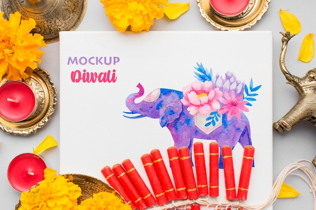 Diwali festival vakantie mock-up olifant