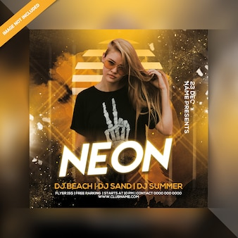 Dj neon party flyer