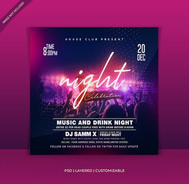 Dj night club celebrazione modello poster design moderno