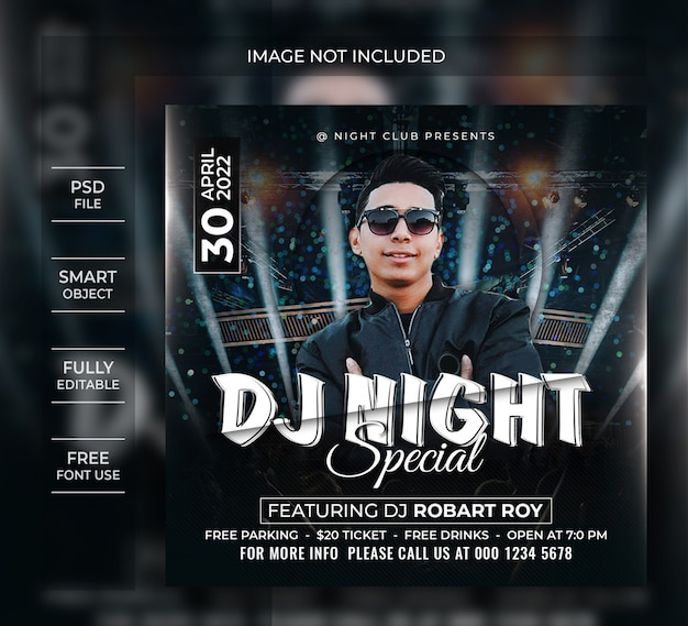 Dj night party flyer-sjabloon of social media-bericht