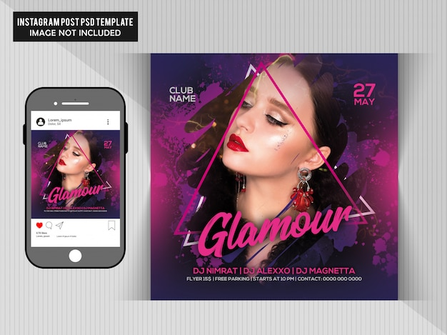 Dj party flyer para instagram