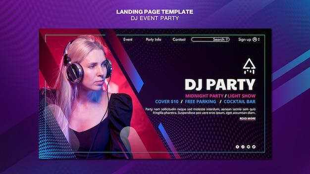 Dj party mujer con auriculares página de inicio
