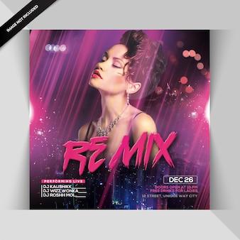 Dj remix nachtfeest flyer