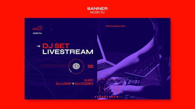 Dj set banner de plantilla de transmisión en vivo