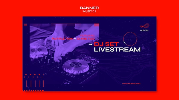 Dj set plantilla de banner de anuncio de transmisión en vivo