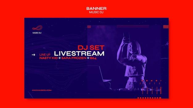 Dj set plantilla de banner de transmisión en vivo