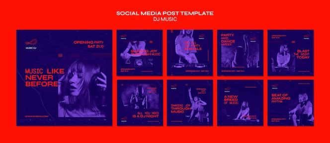 Dj set plantilla de publicación de redes sociales en vivo