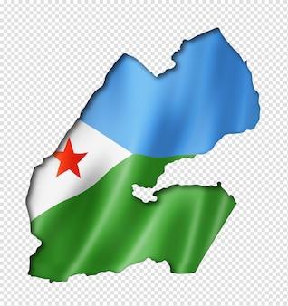 Djibouti vlag kaart