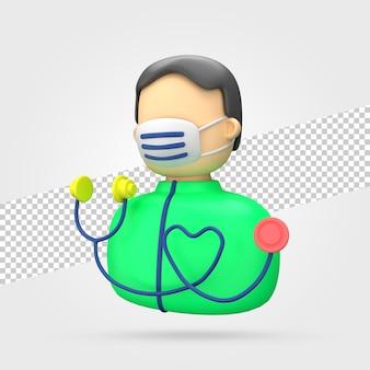 Doctor, con, estetoscopio, 3d, render