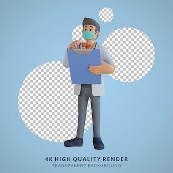 Doctor masculino 3d con una máscara sosteniendo una lista y pensando en la ilustración de diseño de personajes