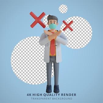 Doctor de sexo masculino que lleva una máscara que presenta con la ilustración del personaje 3d del tablero