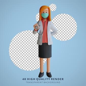 Doctora 3d con una máscara sosteniendo una ilustración de diseño de personajes de estetoscopio