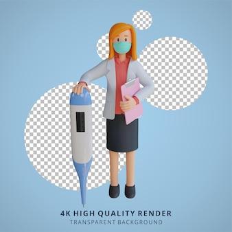 Doctora con una máscara sosteniendo una ilustración de personaje 3d termómetro