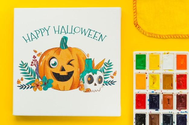 Document blad met gelukkig halloween-concept