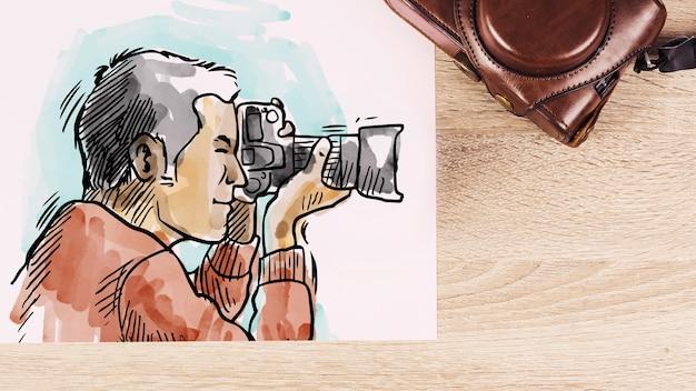 Document mockup met fotografieconcept