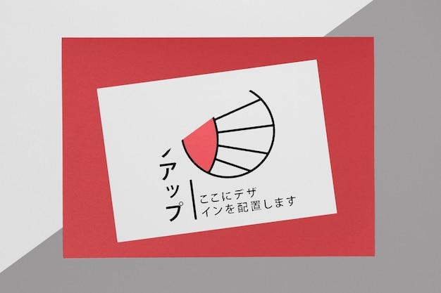 Documentos maqueta asiática sobre fondo rojo.