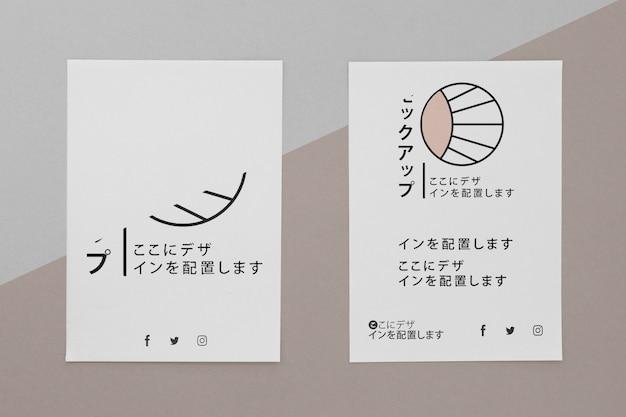 Documentos de papelería de vista superior con maqueta de logotipo