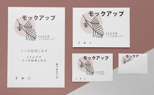 Documentos planos con maqueta de logotipo