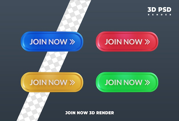 Doe nu mee met labels ontwerp 3d render pictogram badge geïsoleerd