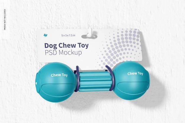 Dog barbell chew toy verpakking mockup, opknoping op de muur